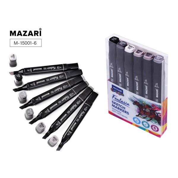Набор маркеров для скетчинга двусторонние FANTASIA, 6цв., Warm grey (теплые серые цвета), 3.0-6.2мм