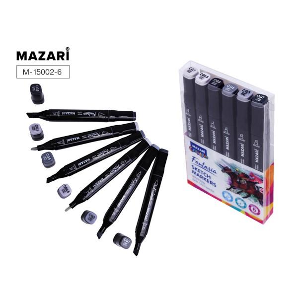 Набор маркеров для скетчинга двусторонние FANTASIA, 6цв., Cool grey (холодн.серые цвета), 3.0-6.2мм