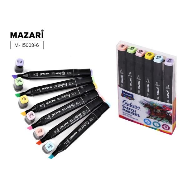 Набор маркеров для скетчинга двусторонние FANTASIA, 6цв., Pastel colors 1 (пастельн.цвета 1), 3.0-6.2мм