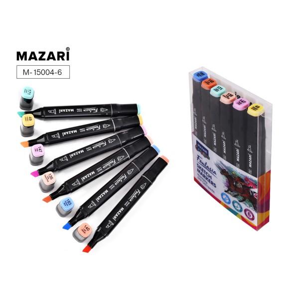 Набор маркеров для скетчинга двусторонние FANTASIA, 6цв., Pastel colors 2 (пастельн.цвета 2), 3.0-6.2мм