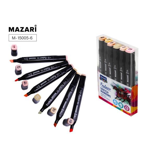 Набор маркеров для скетчинга двусторонние FANTASIA, 6цв., Skin colors (телесные цвета), 3.0-6.2мм