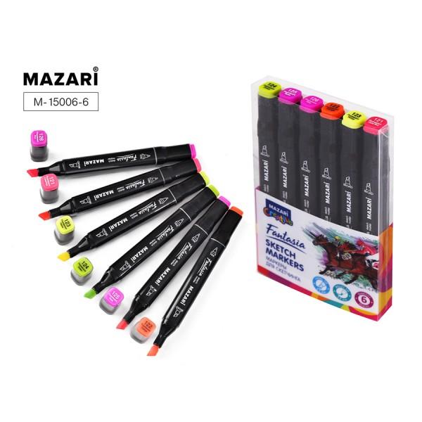 Набор маркеров для скетчинга двусторонние FANTASIA, 6цв., Fluorescent colors (флуорисцентные цвета), 3.0-6.2мм