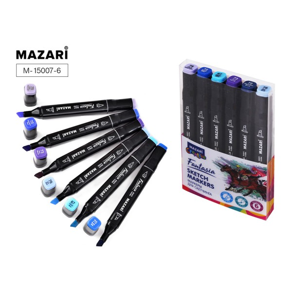 Набор маркеров для скетчинга двусторонние FANTASIA, 6цв., Blue colors (синие цвета), 3.0-6.2мм