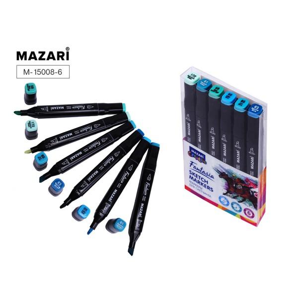 Набор маркеров для скетчинга двусторонние FANTASIA, 6цв., Marine blue colors (морские цвета), 3.0-6.2мм
