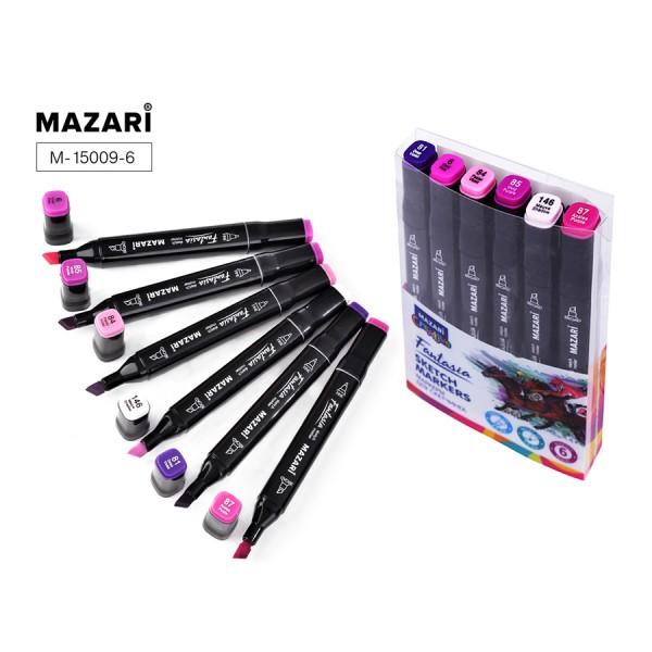 Набор маркеров для скетчинга двусторонние FANTASIA, 6цв., Purple colors (пурпурн.цвета), 3.0-6.2мм