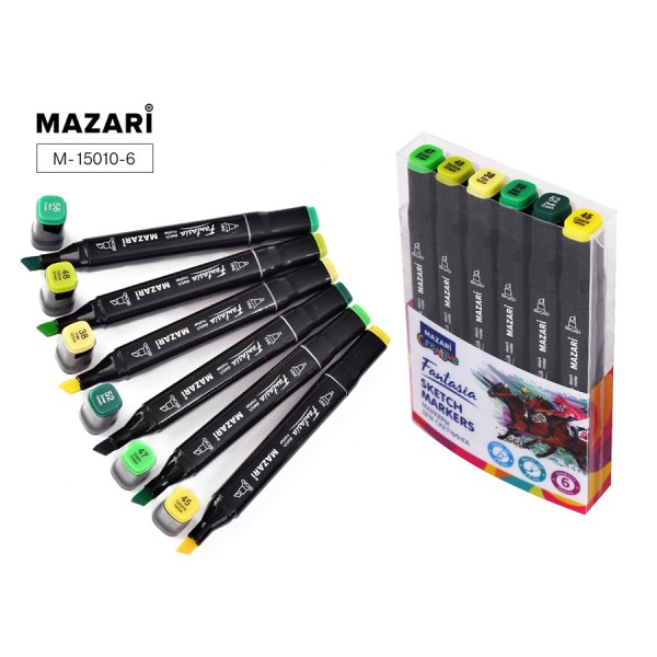 Набор маркеров для скетчинга двусторонние FANTASIA, 6цв., Green colors (зеленые цвета), 3.0-6.2мм