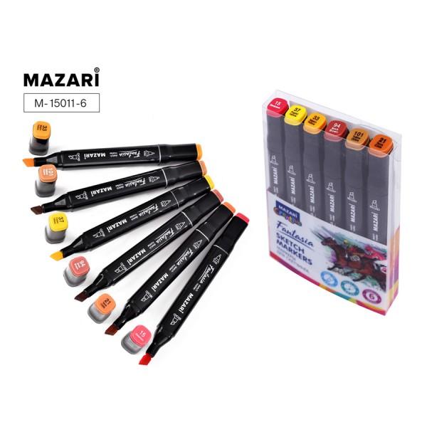 Набор маркеров для скетчинга двусторонние FANTASIA, 6цв., Autumn colors (цвета осени), 3.0-6.2мм