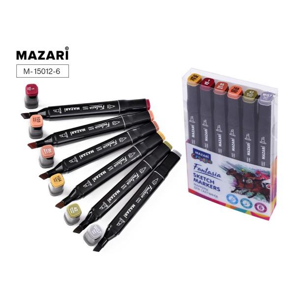 Набор маркеров для скетчинга двусторонние FANTASIA, 6цв., Wood colors (древесные цвета), 3.0-6.2мм