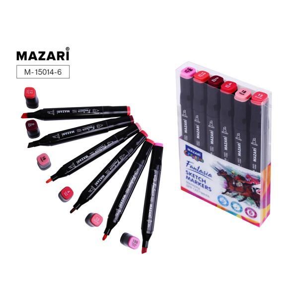 Набор маркеров для скетчинга двусторонние FANTASIA, 6цв., Pink colors (розовые цвета), 3.0-6.2мм