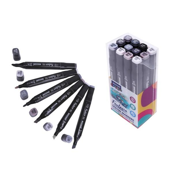 Набор маркеров для скетчинга двусторонние FANTASIA, 12цв., Grey colors (серые цвета), 3.0-6.2мм