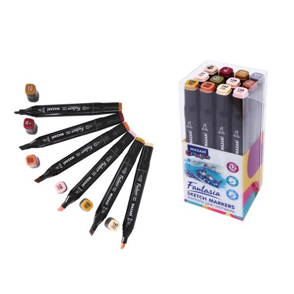 Набор маркеров для скетчинга двусторонние FANTASIA, 12цв., Skin + Wood colors (телесные + древесные цвета), 3.0-6.2мм