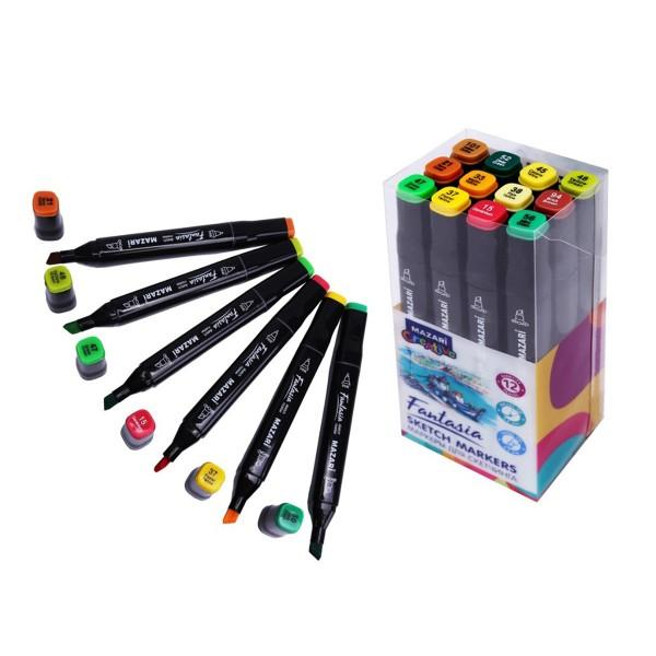 Набор маркеров для скетчинга двусторонние FANTASIA, 12цв., Autumn colors (цвета осени), 3.0-6.2мм