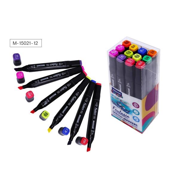 Набор маркеров для скетчинга двусторонние FANTASIA, 12цв., Main + Fluorescent colors (основные + флуорисцентные цвета), 3.0-6.2мм
