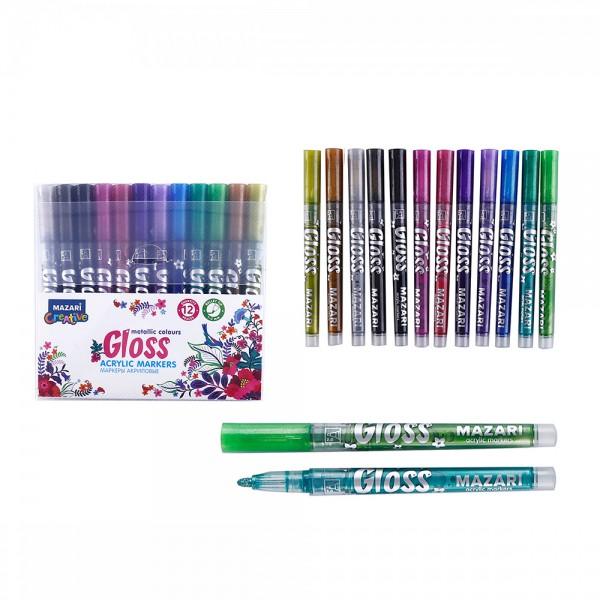 "Набор маркеров-красок с эффектом ""металлик"" GLOSS, 12 цв., пулевид.наконечн., пиш.узел 1.0-2.0 мм"