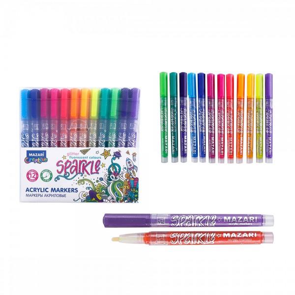 Набор маркеров-красок с блёстками SPARKLE, 12 цв., пулевид.наконечн., 1.0-2.0 мм, ПВХ-упаковка