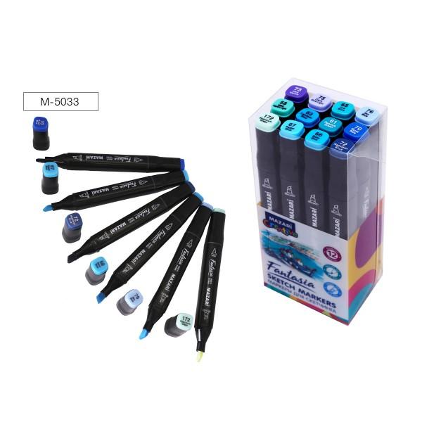 Набор маркеров для скетчинга двусторонние FANTASIA, 12цв., Marine blue colors (морские цвета), 3.0-6.2мм