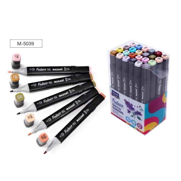 Набор маркеров для скетчинга двусторонние FANTASIA, 24цв., Grey- pastel colors (серые пастельные цвета), 3.0-6.2мм