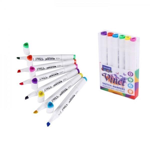 Набор маркеров для скетчинга двусторонние VINCI, 6цв., Main colors (основные цвета), 1.0-6.2мм