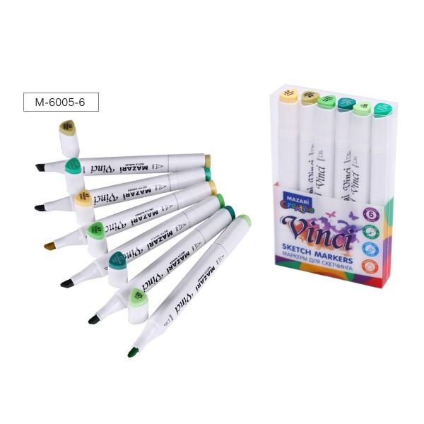 Набор маркеров для скетчинга двусторонние VINCI, 6цв., Green colors (зеленые цвета), 1.0-6.2мм