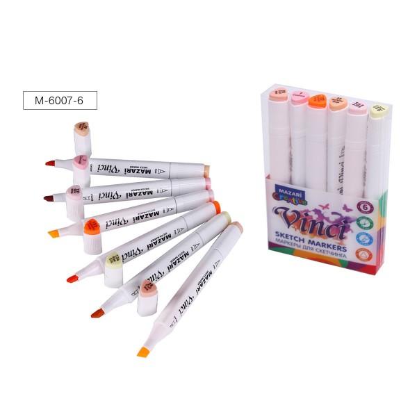 Набор маркеров для скетчинга двусторонние VINCI, 6цв., Skin colors (телесные цвета), 1.0-6.2мм