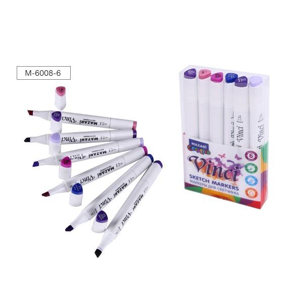 Набор маркеров для скетчинга двусторонние VINCI, 6цв., Purple colors (пурпурные цвета), 1.0-6.2мм