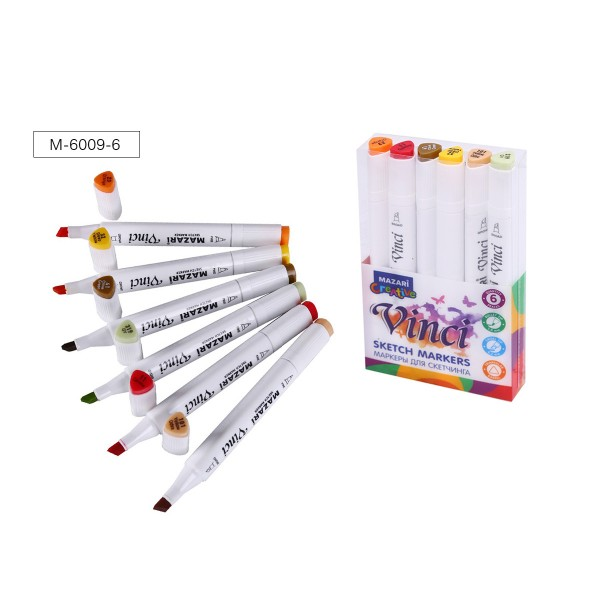 Набор маркеров для скетчинга двусторонние VINCI, 6цв., Autumn colors (цвета осени), 1.0-6.2мм