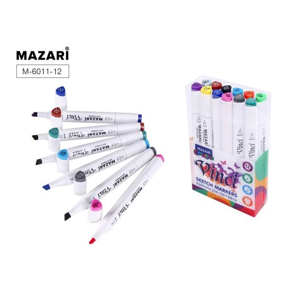 Набор маркеров для скетчинга двусторонние VINCI, 12цв., Main colors (основные цвета), 1.0-6.2мм