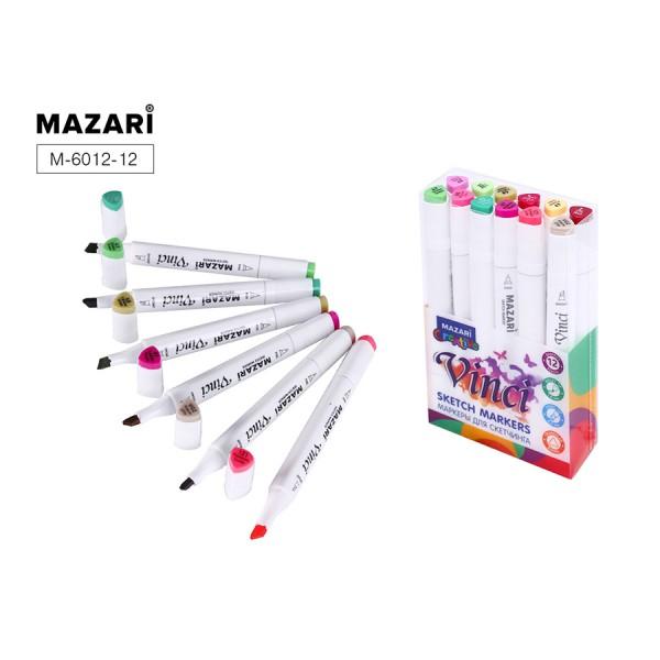 Набор маркеров для скетчинга двусторонние VINCI, 12цв., Flowers colors (цветочная гамма), 1.0-6.2мм