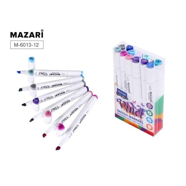 Набор маркеров для скетчинга двусторонние VINCI, 12цв., Lavander colors (лавандовые цвета), 1.0-6.2мм