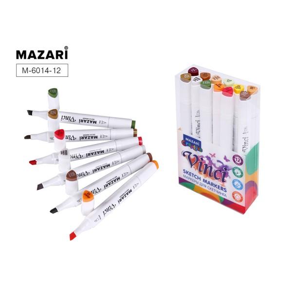 Набор маркеров для скетчинга двусторонние VINCI, 12цв., Forest colors (цвета леса), 1.0-6.2мм