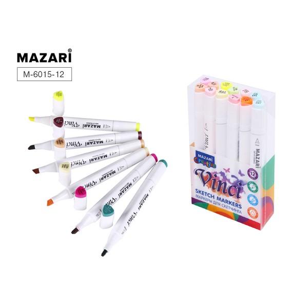 Набор маркеров для скетчинга двусторонние VINCI, 12цв., Pastel colors (пастельные цвета), 1.0-6.2мм