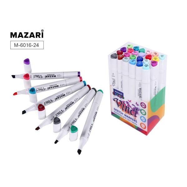 Набор маркеров для скетчинга двусторонние VINCI, 24цв., Main colors (основные цвета), 1.0-6.2мм