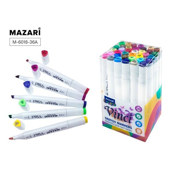 Набор маркеров для скетчинга двусторонние VINCI, 36цв., Main colors (основные цвета), 1.0-6.2мм