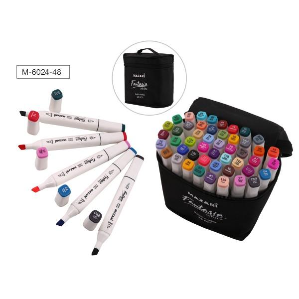 Набор маркеров для скетчинга двусторонних FANTASIA WHITE, 48 цв., 2.5-6.2мм, текстильный чехол на молнии