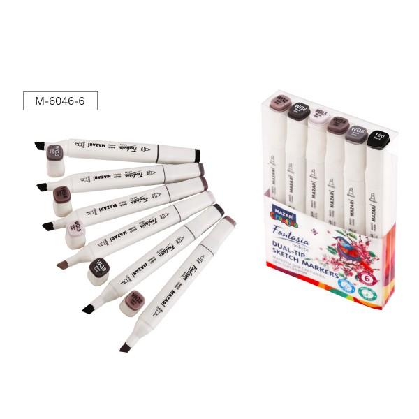 Набор маркеров для скетчинга двусторонних FANTASIA WHITE, 6 цв., Warm Grey (теплые серые), 2.5-6.2мм