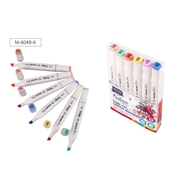 Набор маркеров для скетчинга двусторонних FANTASIA WHITE, 6 цв., Pastel colors (пастельные цвета 2), 2.5-6.2мм
