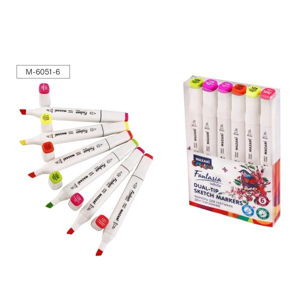 Набор маркеров для скетчинга двусторонних FANTASIA WHITE, 6 цв., Fluorescent (Флюоресцентные), 2.5-6.2 мм