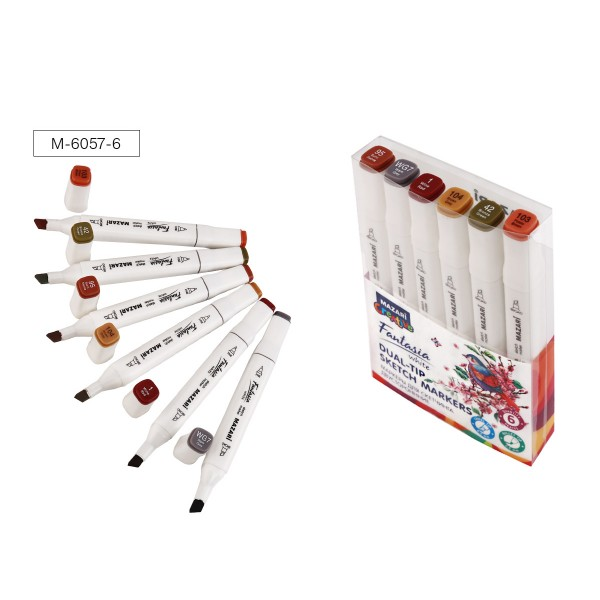 Набор маркеров для скетчинга двусторонних FANTASIA WHITE, 6 цв., Wood colors (древесные цвета), 2.5-6.2мм