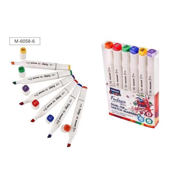 Набор маркеров для скетчинга двусторонних FANTASIA WHITE, 6 цв., Main colors (основные цвета), 2.5-6.2мм