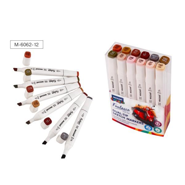 Набор маркеров для скетчинга двусторонних FANTASIA WHITE, 12 цв., Skin + Wood tones (телесные + древесные цвета), 2.5-6.2мм