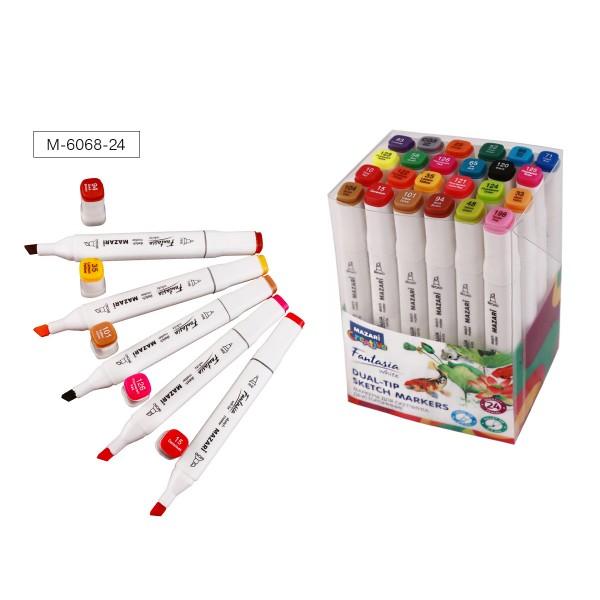 Набор маркеров для скетчинга двусторонних FANTASIA WHITE, 24 цв., Main colors (основные цвета), 2.5-6.2мм