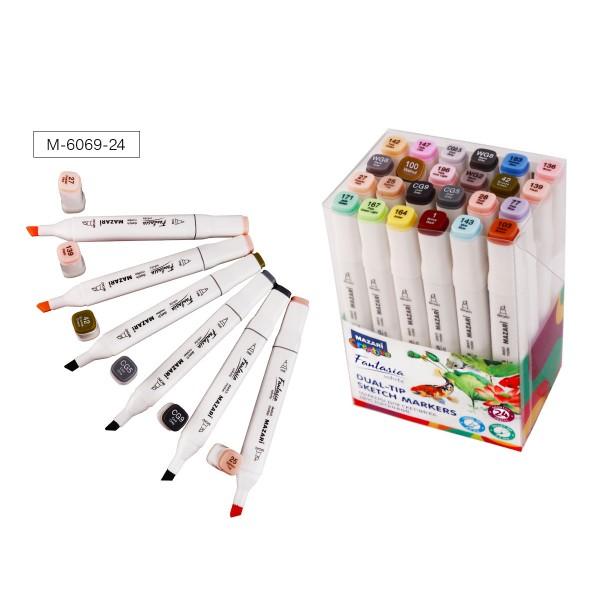 Набор маркеров для скетчинга двусторонних FANTASIA WHITE, 24 цв., Grey Pastel colors (серые пастельные цвета), 2.5-6.2 мм
