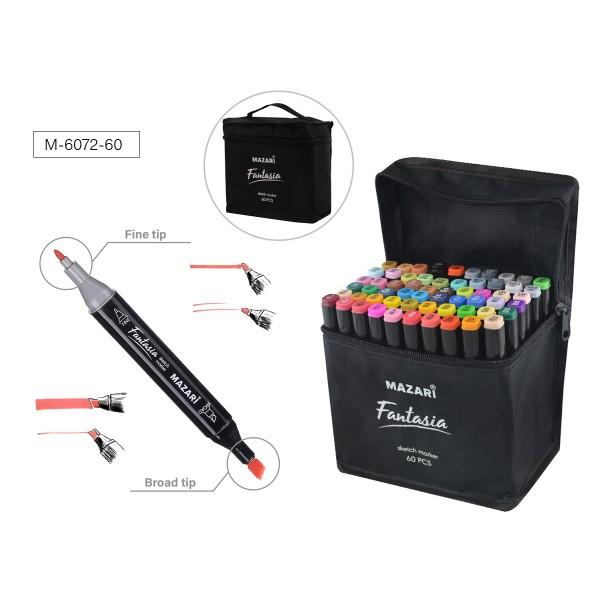 Набор маркеров для скетчинга двусторонних FANTASIA, 60 цв., 3.0-6.2 мм, текстильный чехол на молнии, ОПП-упаковка