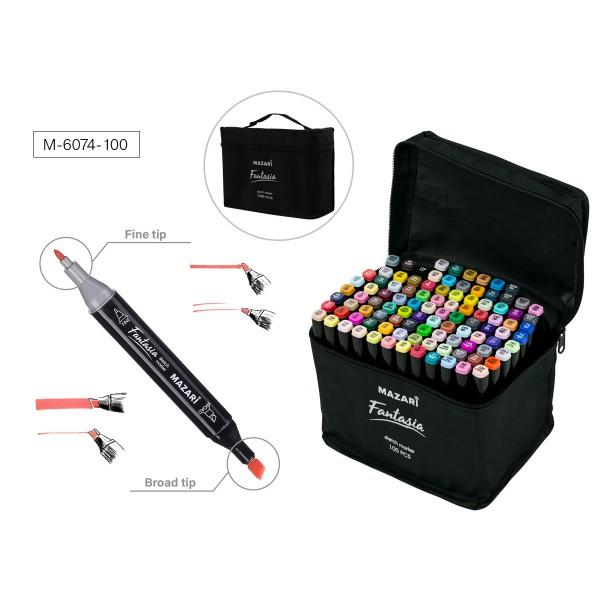 Набор маркеров для скетчинга двусторонних FANTASIA, 100 цв., 3.0-6.2 мм, текстильный чехол на молнии