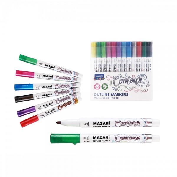 Набор маркеров-красок с контуром CONTOUR, 12 цв. (3 зол.+9серебр.), пулевид.наконечн., 1.0-2.0 мм