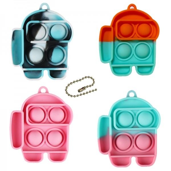 Антистресс брелок-игрушка Pop It Among Us, разноцветный