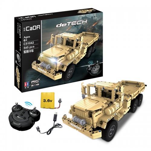 Конструктор CaDA Военный грузовик, радиоуправление, 545 деталей